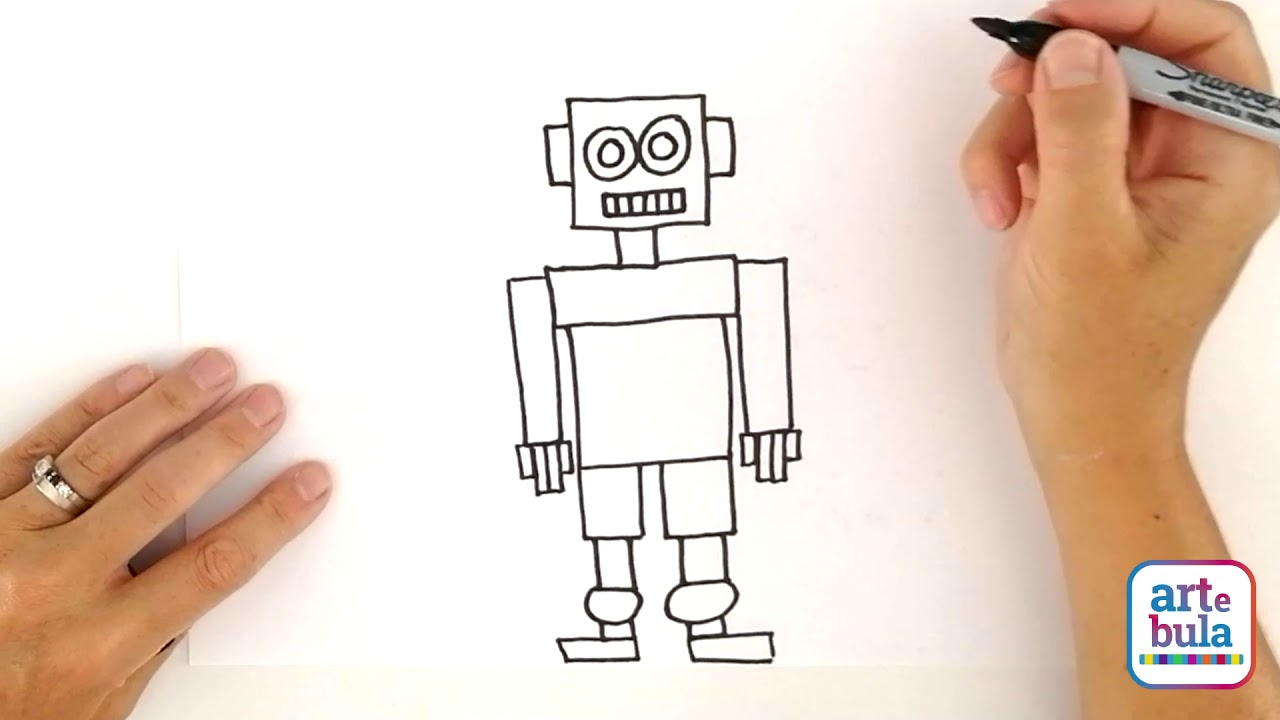 How to Draw a Robot Using Simple Shapes