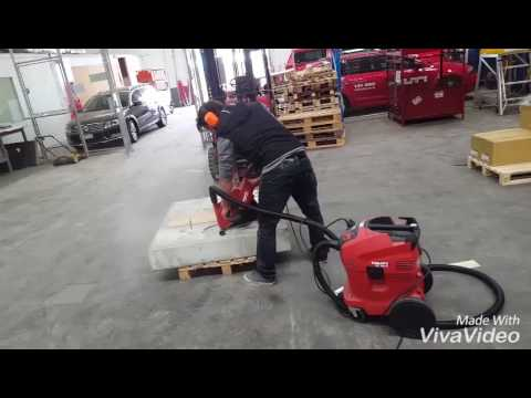 Concrete Cutting Using Hilti Dch 300 Diamond Cutter With Dust Removal System Youtube