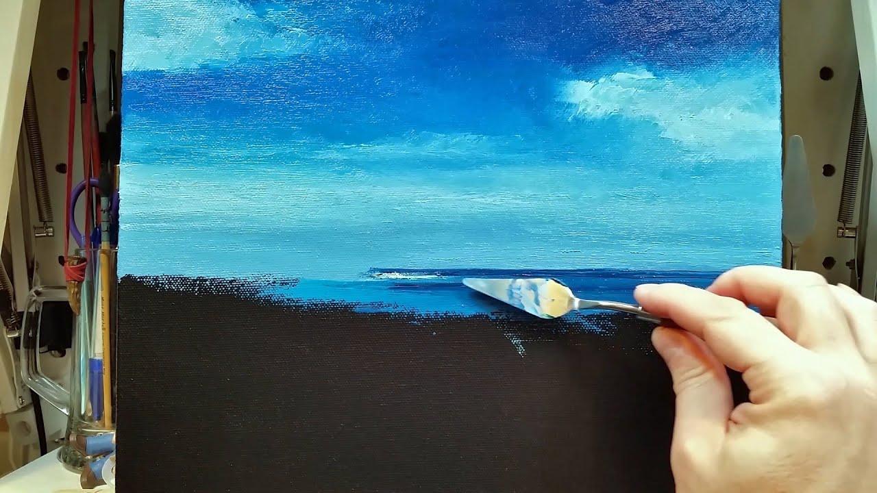 City Beach Perth - Palette Knife | Brush Oil Painting - Ocean Coast Sea Dusan