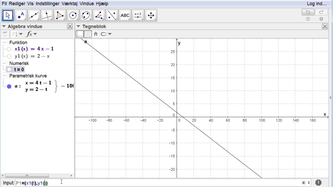 Vektorfunktioner - 18 - Fart, hastighed og acceleration, Animering, Geogebra, Opgave