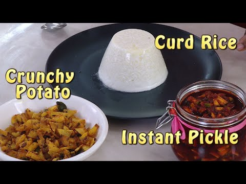 Crunchy potato fry - Instant Mango Pickle - School Curd Rice