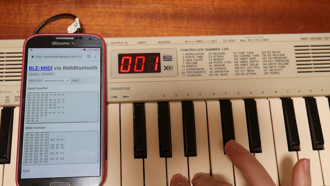 Web Bluetooth / BLE-MIDI TEST 03 / Android Chrome