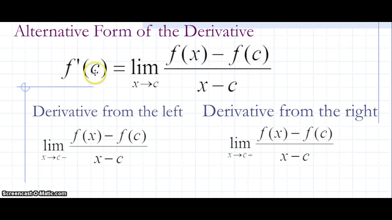 The Alternative Form Of The Derivative Youtube