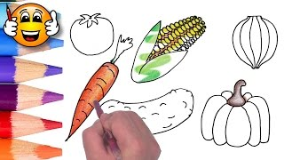 Coloring Pages For Kids Vegetables Corn Pumpkin   Coloring for Kids   Bibabibo