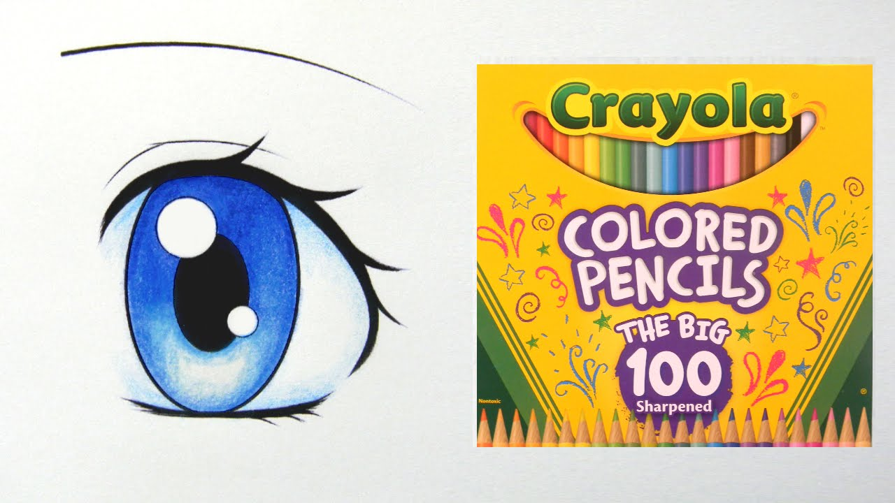 how to color a manga eye with crayola colored pencils