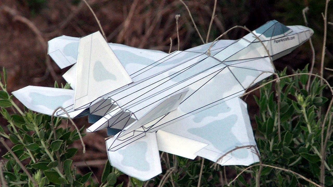 Papercraft F-22 Paper Airplane 3D model