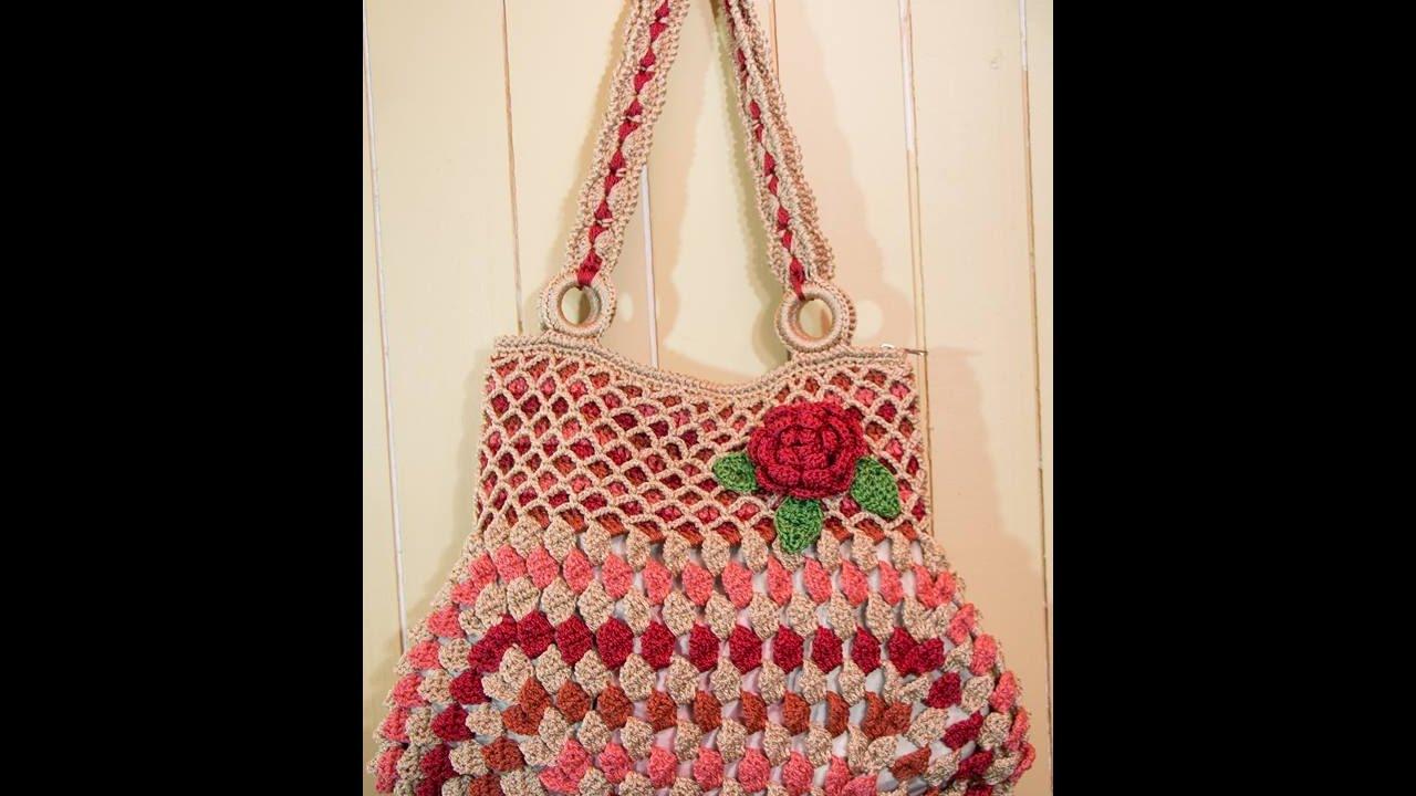 Bolso con rosa tejido a crochet tutorial paso a paso - Bolsos tejidos a crochet ...