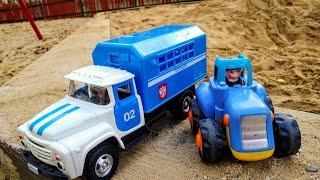 Мультики про машинки. Синий трактор, полицейская машина и малыш. Детские мультики. Машинки.