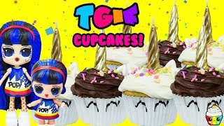 TGIF SHOW Unicorn Cupcake Baking Birthday With Cupcake Jr + LOL Dolls