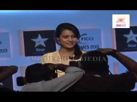 Kajol Looks graceful and stunning in Classic cream dress at the FICCI FRAMES 2013