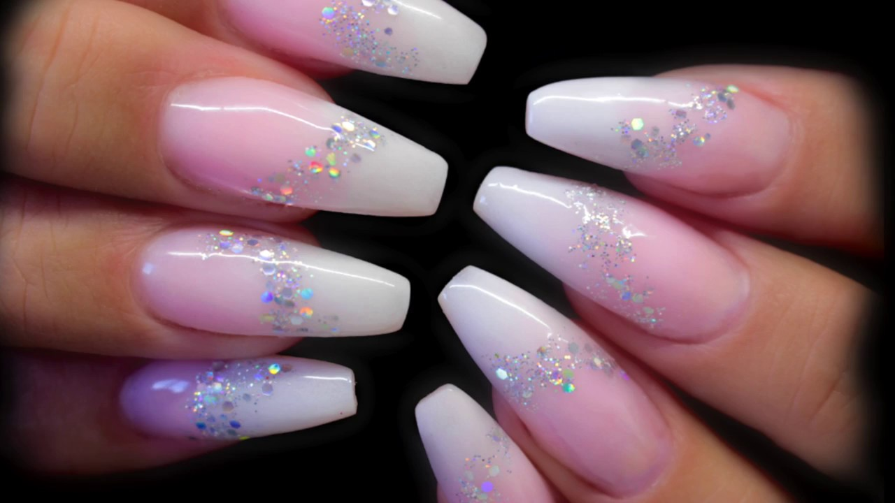 BABY BOOMER/FADED/OMBRE FRENCH NAILS WITH SPARKLE