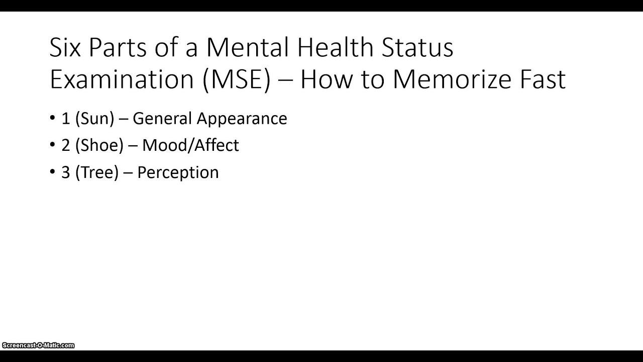 Mental Health Status Examination -- How to memorize fast ...