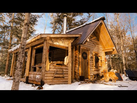 surviving-winter-in-a-log-cabin-|-tiny-home
