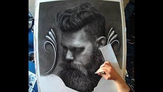 Hyperrealistic Portrait | How to draw Beard | Speed draw Timelapse