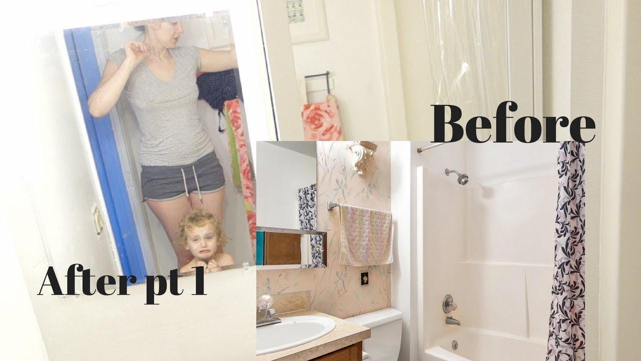 Download Tiny Bathroom Remodel PT 1 {mirror and wallpaper}