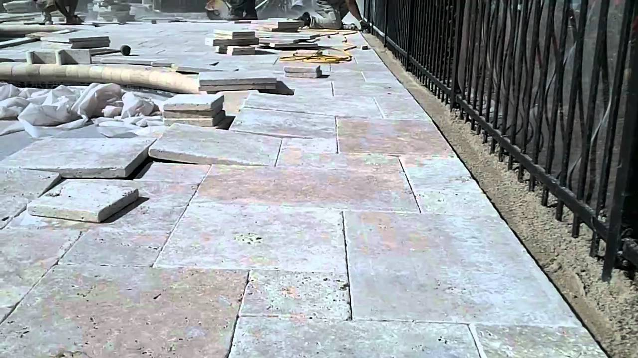 Travertine pool deck french pattern youtube for Pool design pattern