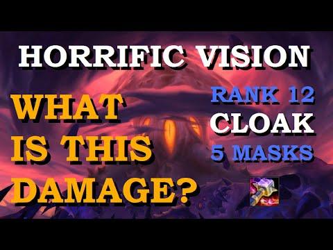 Rank 12 CLOAK 5 MASKS Run? Horrific Vision - Enhancement Shaman   World Of Warcraft   Waves