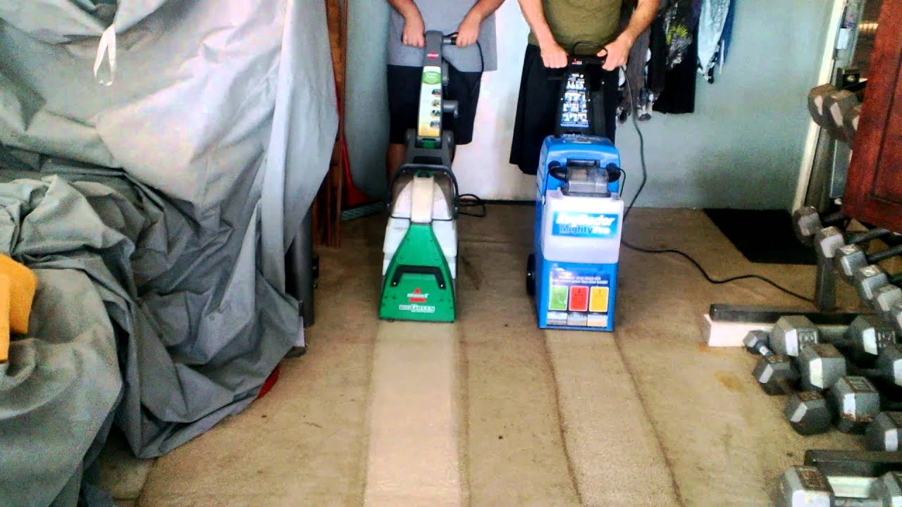 rug doctor vs. bissell big green deep cleaning machine - youtube