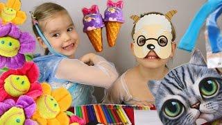 Распаковка посылки Игрушки Сюрприз Котики Кото-Кошельки платье Эльзы Ариэль Цветные волосы