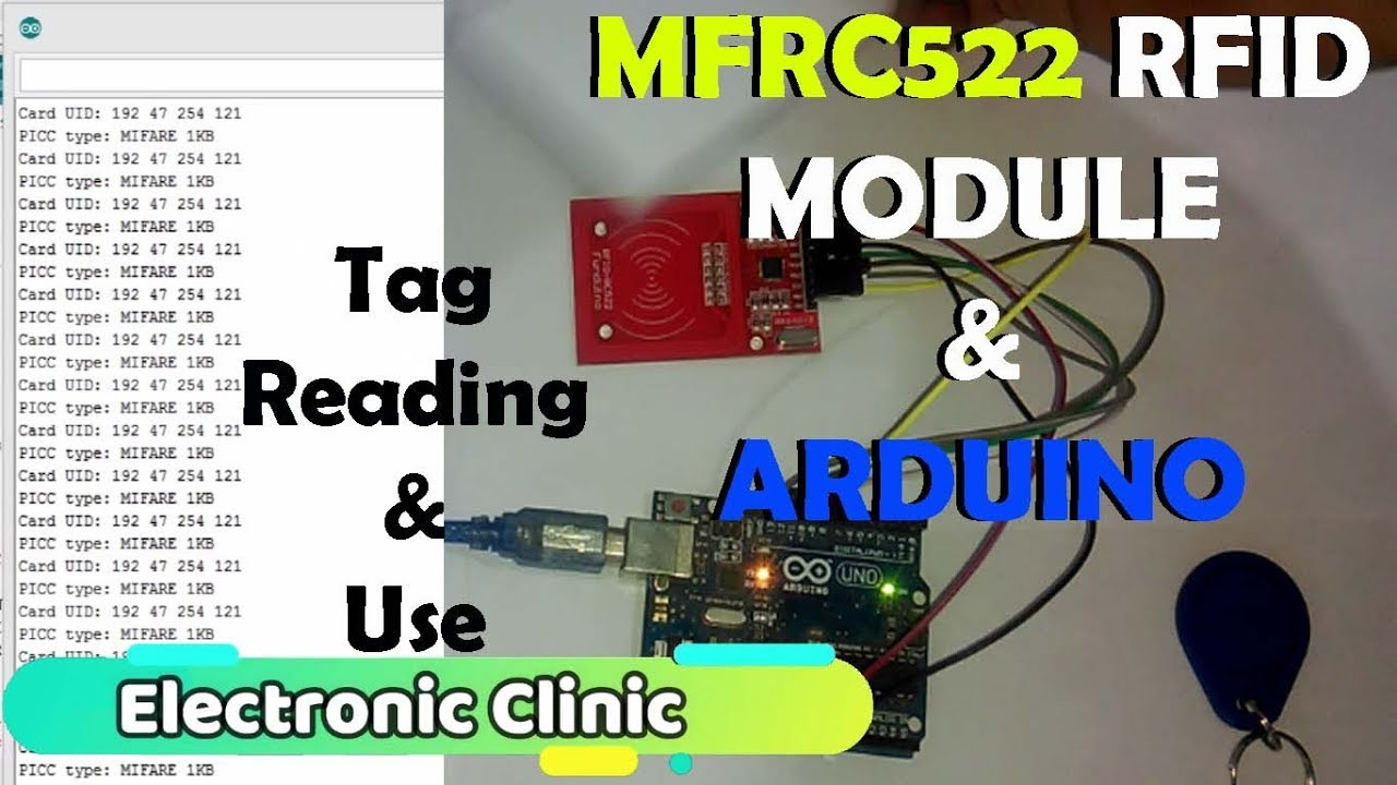 Arduino MFRC522 RFID module Pinouts, Interfacing, how to read RFID tags ID  identity number and use
