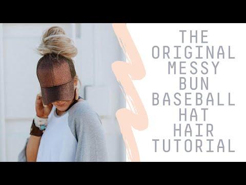 d71c24e4157 How To Wear a Messy Bun Hat - Top Knot Baseball Cap Hair Tutorial ...