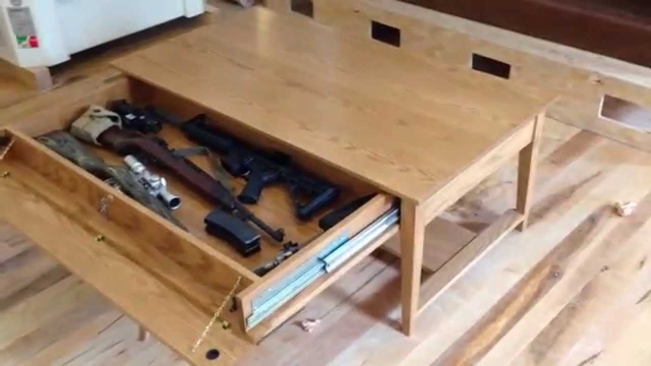 QLine SafeGuard Coffee Table with hidden compartment - YouTube
