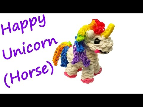 Happy Unicorn (Horse) Tutorial by feelinspiffy (Rainbow Loom)