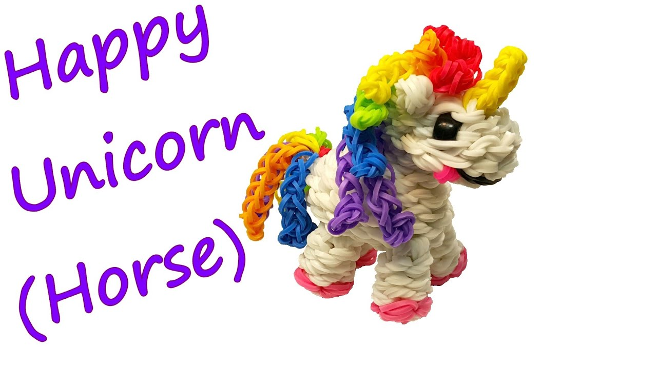 Rainbow Loom Amigurumi Unicorn : Happy Unicorn (Horse) Tutorial by feelinspiffy (Rainbow ...