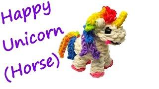 Happy Unicorn (Horse) Tutorial by feelinspiffy (Rainbow Loom)