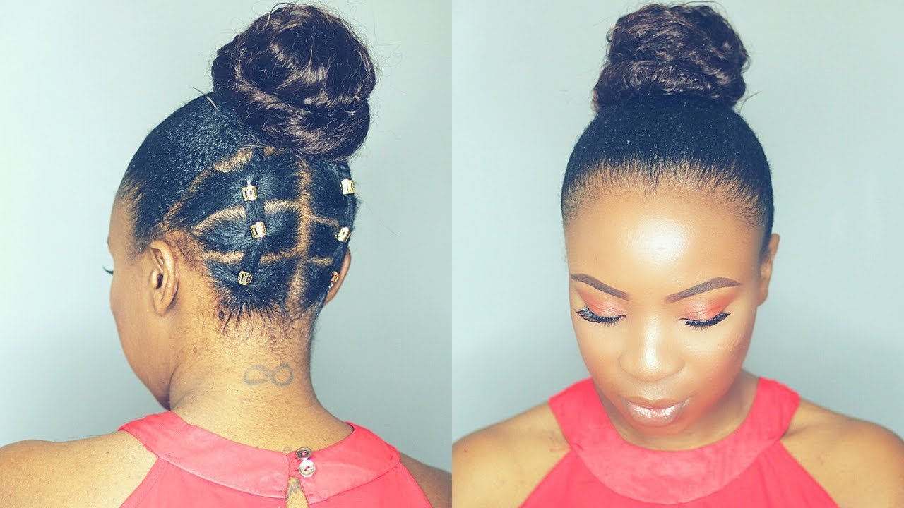 Rubber Band Updo Hairstyle On Short Natural Hair Twa