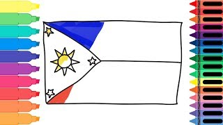How to Draw the Philippines Flag - Drawing the Filipino Flag - Art Colors for Kids | Tanimated Toys