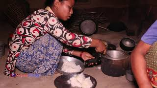 Real traditional lifestyle in village ll cooking organic curry of potatoes and eating by f ...