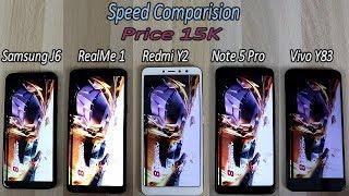 Redmi Y2 Vs RealMe 1 Vs Redmi Note 5 Pro Vs Samsung j6 Vs Vivo Y83 Comparision !! Speed Comparision