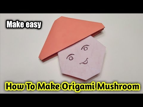 Origami mushroom How to make a paper mushroom easy origami mushroom DIY Folding paper mushroom