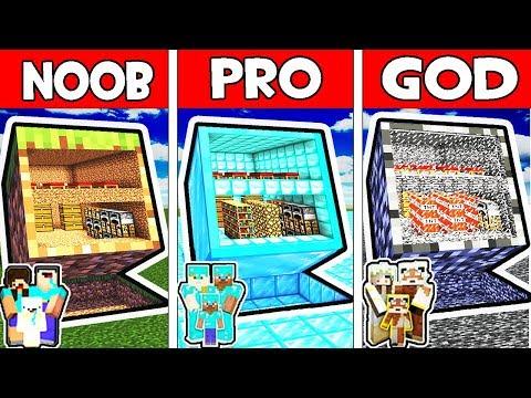 Minecraft - NOOB vs PRO vs GOD : FAMILY SAFEST BLOCK BASE in Minecraft Animation