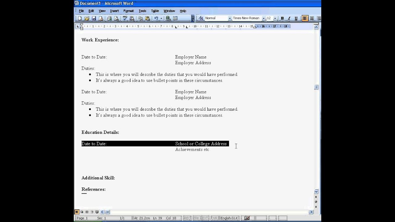 Create a CV in Word 2003 - YouTube