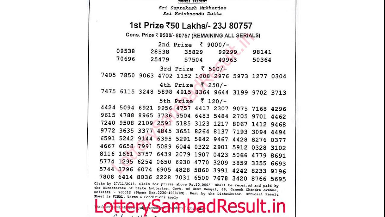 West Bengal Lottery Banga Lakshmi Teesta Result 29-10-2018