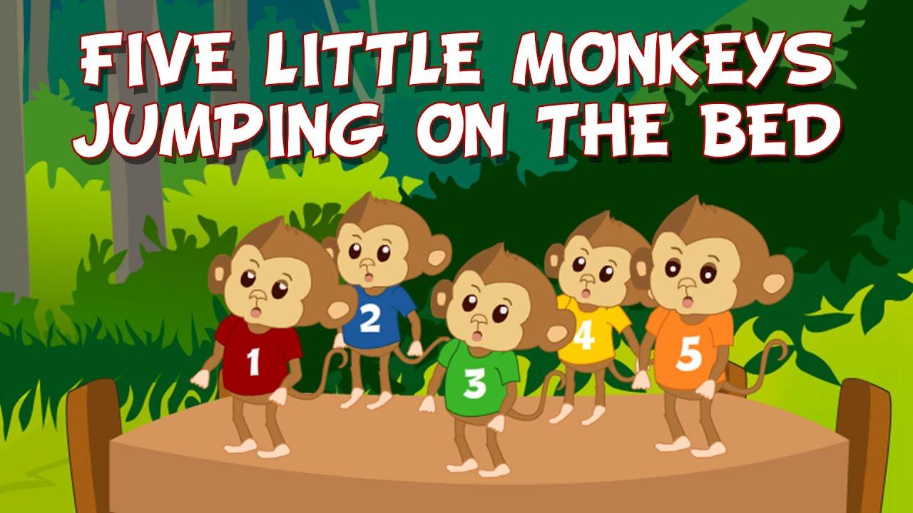 Five Little Monkeys Jumping On The Bed Children Nursery