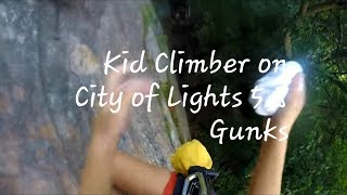 Kid Climber (at 5) Cleaning City of Lights (5.8) at the Gunks (2 pitches)