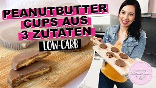 PEANUTBUTTER CUPS AUS NUR 3 ZUTATEN! (Low-Carb, glutenfrei, zuckerfrei)