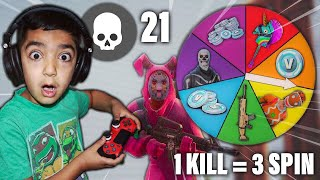 1 KILL = 3 SPIN CHALLENGE WITH MY 5 YEAR OLD LITTLE BROTHER! | FORTNITE SPIN THE WHEEL & WIN V-BUCKS