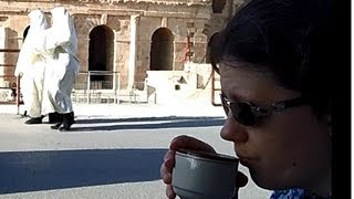 Tunisia, Drinking tea in El Djem (El Jem), outside the Roman ampitheatre.