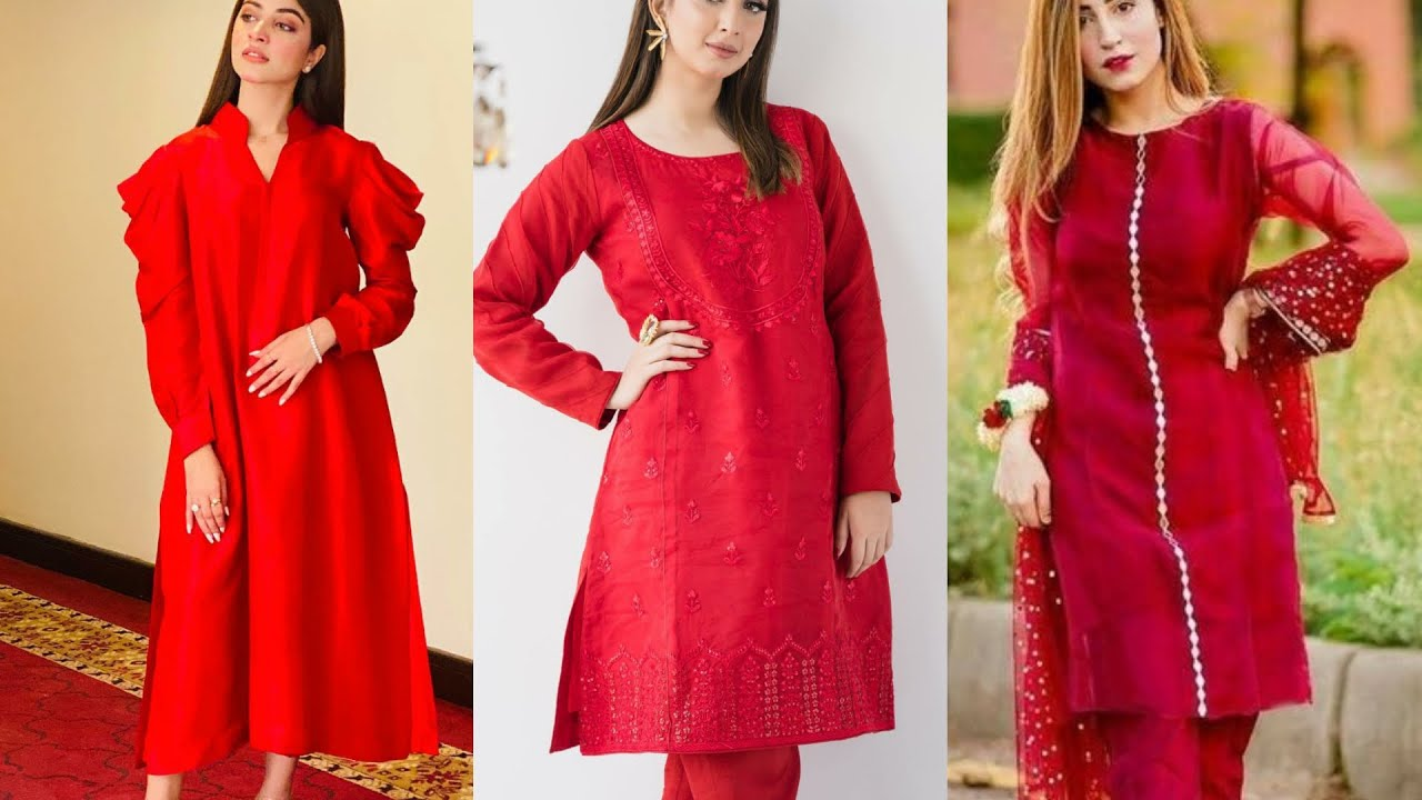 Latest Red Dresses Design    Red Kurti Designs    Red Suit/Red Frock Designs  For Valentine's Day - YouTube