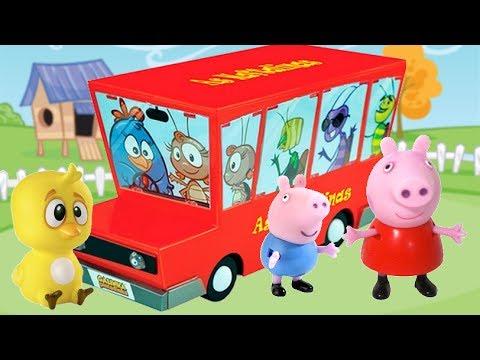 Galinha Pintadinha Pintinho Amarelinho Busão Brinquedos Surpresas Massinha Peppa Pig Varios Episodio