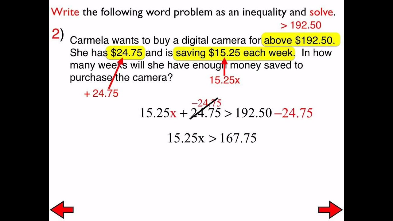 worksheet Multi Step Inequalities 14 b word problems involving multi step inequalities youtube inequalities