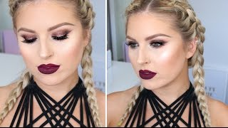 Sexy & Glowing Makeup ♡ Deep Wine Lips & Sultry Bronze Glitter
