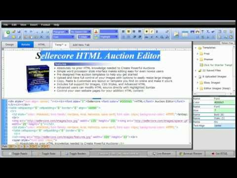 Free EBay Template Software - Word Processor Style HTML Editing