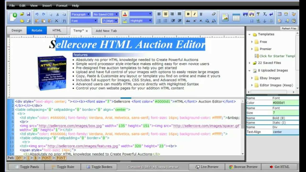 free ebay template software word processor style html editing