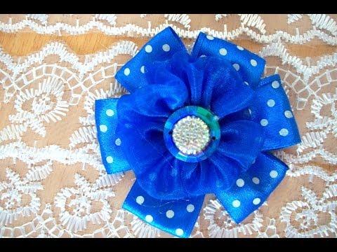 Цветок из лент мастер класс бант из ленты заколка подарок