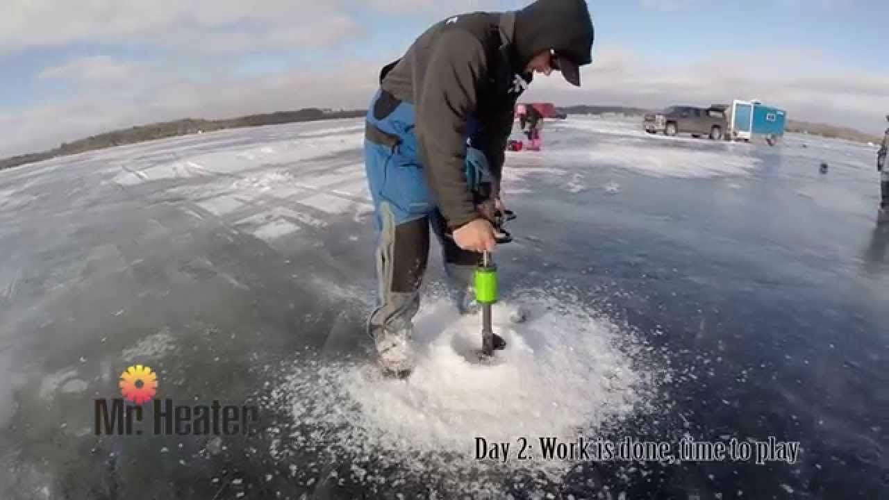 Mr heater at brainerd ice fishing extravaganza youtube for Ice fishing extravaganza
